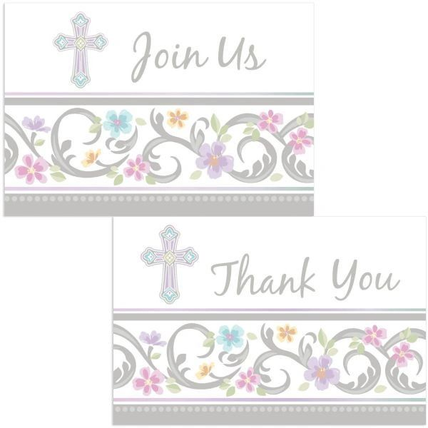 Blessed Day Invite & Thank You Card Set, 16ct