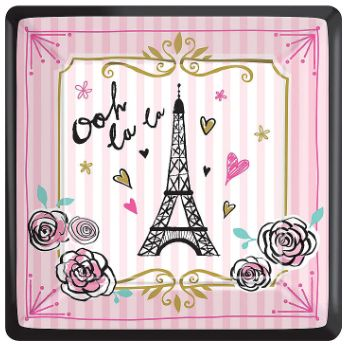 "Day In Paris Square Dessert Plate 7"" - 8ct"