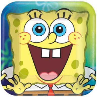 """SpongeBob© Square Dessert Plates, 7"""" - 8ct"""