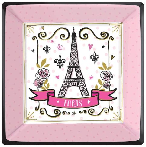 "Day In Paris Square Dinner Plates, 10"" - 8ct"