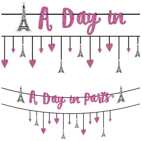 Day In Paris Multi Pack Ribbon Banners, 12ft - 2ct