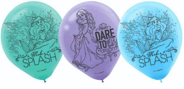 ©Disney Ariel Dream Big Printed Latex Balloons, 6ct