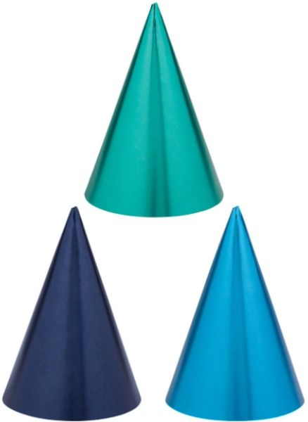 Birthday Accessories Blues Cone Hats, 12ct