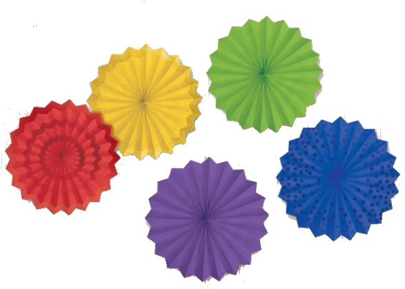 Hot Stamp Paper Fans Rainbow, 5ct