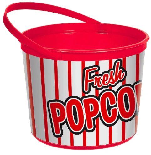 Movie Night Plastic Popcorn Bucket w/ Handle