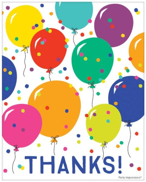 Party Balloons Postcard Thank You, 8ct