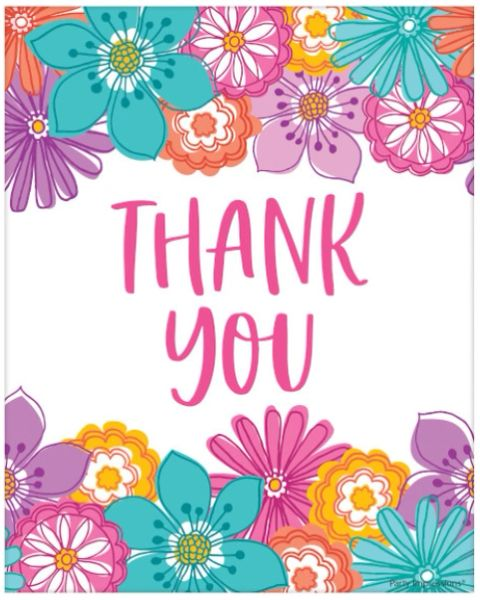 Pretty Petals Birthday Postcard Thank You, 8ct