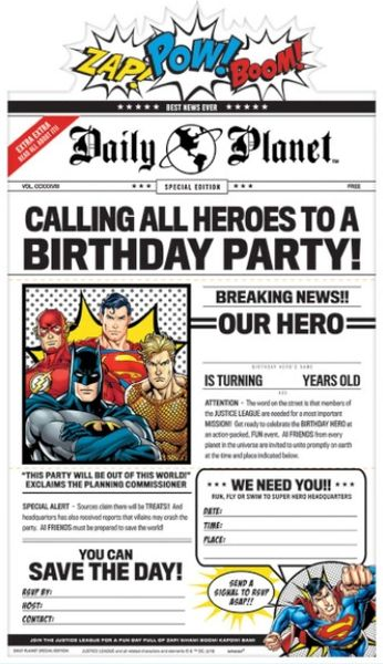 Justice League Heroes Unite™ Deluxe Invitations, 8ct