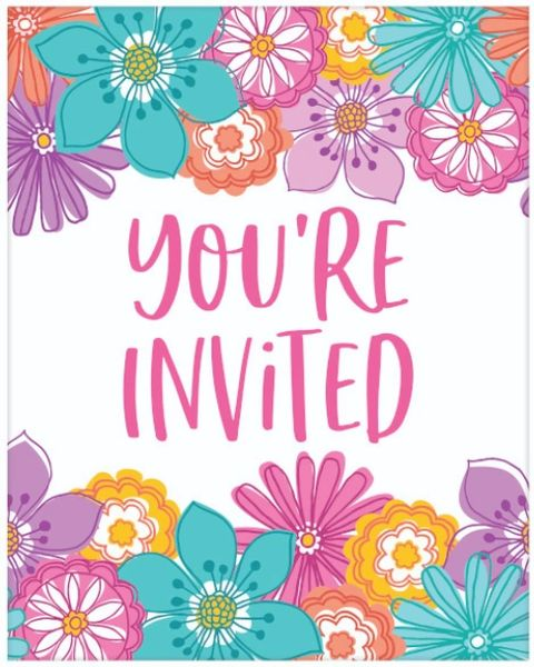 Pretty Petals Birthday Postcard Invite, 8ct