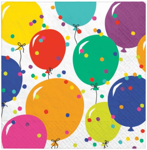 Party Balloons Beverage Napkins, 16ct