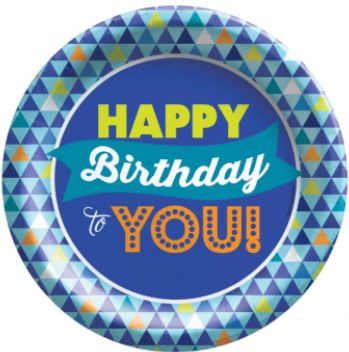 "True Blue Birthday Dessert Plates, 6 3/4"" - 8ct"