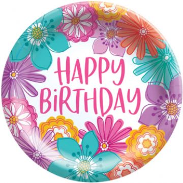 "Pretty Petals Birthday Plates, 6 3/4"" - 8ct"