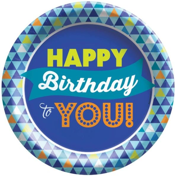 "True Blue Birthday Lunch Plates, 8 1/2"" - 8ct"