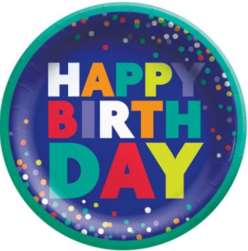 "Bold Happy Birthday Dessert Plates, 6 3/4"" -8ct"
