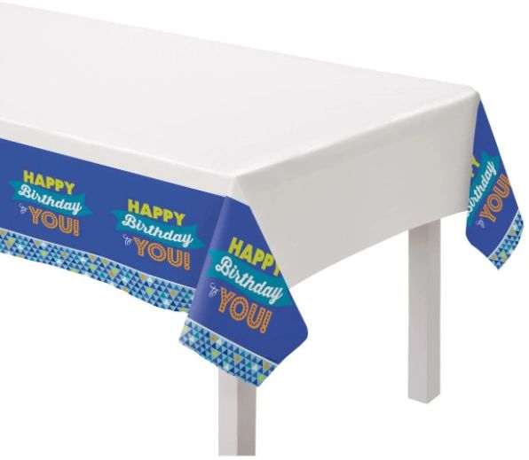 True Blue Birthday Plastic Table Cover