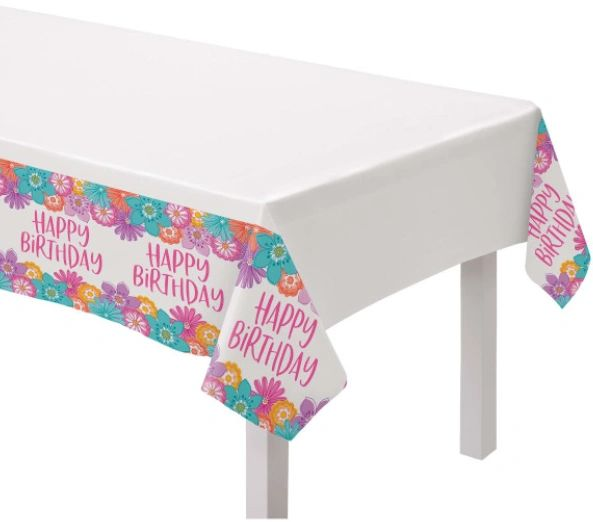 Pretty Petals Birthday Plastic Table Cover