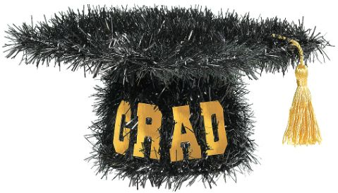 Mini Tinsel Graduation Cap
