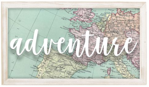 Adventure Hanging Wood Sign
