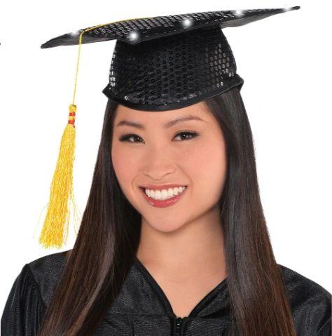 Light Up Sequin Graduation Hat