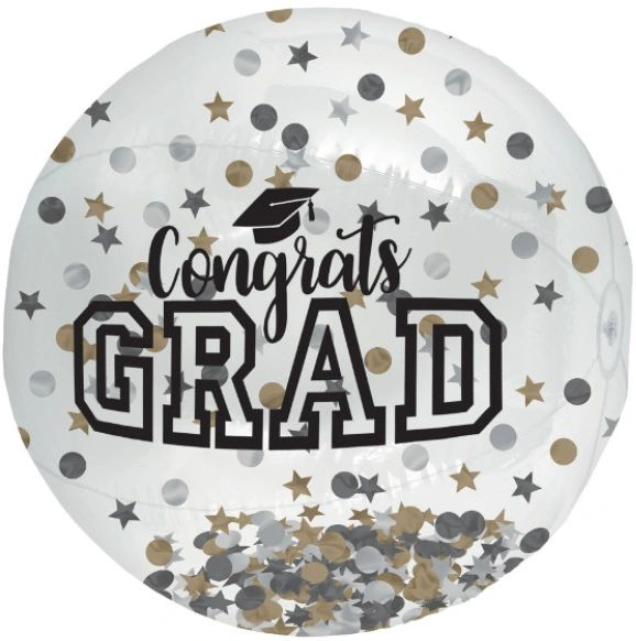 Grad Large Inflatable Autograph Confetti Ball - Black, Silver, Gold, 23""