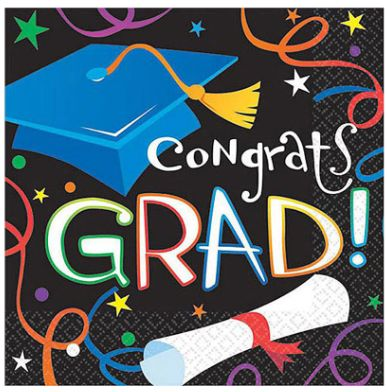 Colorful Grad Celebration Luncheon Napkins, 16ct