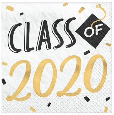 "2020"" Grad Hats Off! Hot Stamp Luncheon Napkins, 16ct"