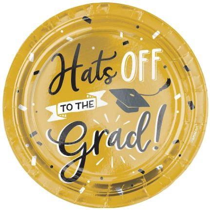 "Grad Hats Off! Metallic Round Dessert Plates, 7"" - 8ct"