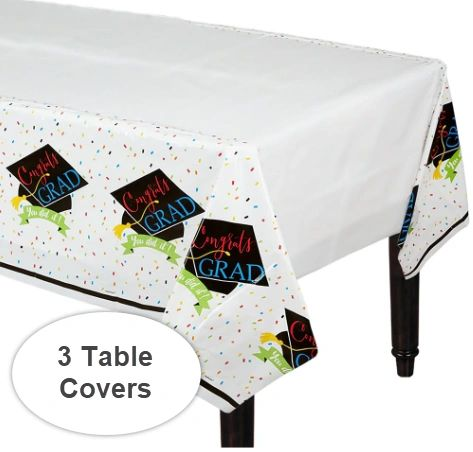100% Done Plastic Table Cover, 3ct