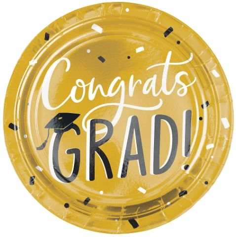 "Grad Hats Off! Metallic Round Dinner Plates 10 1/2"" - 8ct"