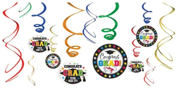 Grad Value Pack Swirl Decorations - Multicolor, 12ct