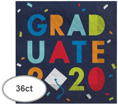"""2020"" Navy Class of Awesome Beverage Napkins, 36ct"