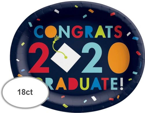 "Navy Class of Awesome 2020 Oval Paper Plates, 12"" - 18ct"