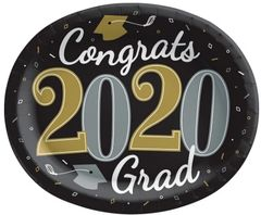 """""""2020"""" Well Done Grad Oval Paper Plates, 12"""" - 18ct"""