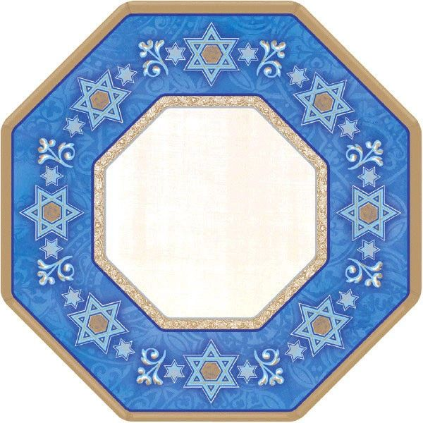 "Hanukkah Judaic Traditions Octagon Paper Plates, 7"" - 8ct"