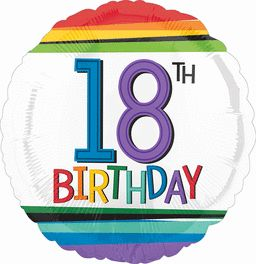 "HX Rainbow Birthday 18"" Balloon"