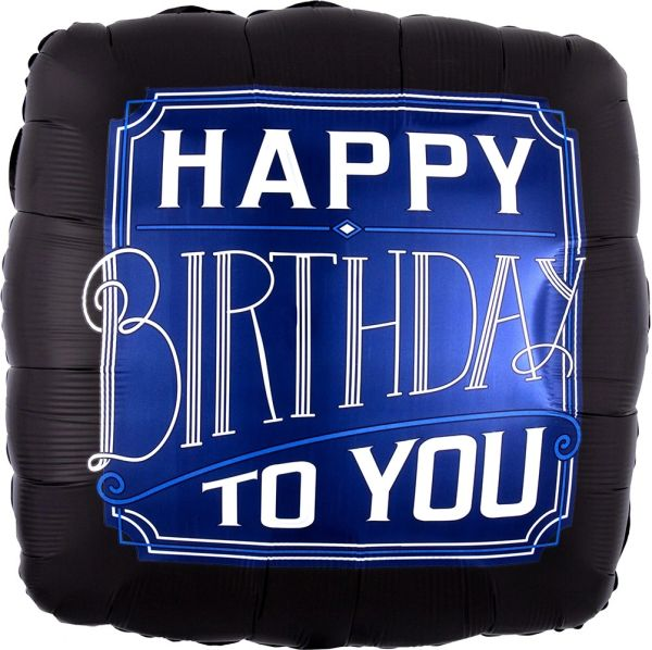 "28"" Black/Blue Man Happy Birthday Balloon"