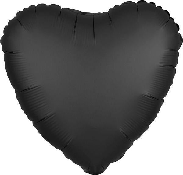 Satin Luxe 01 Onyx Heart Mylar Balloon 18in