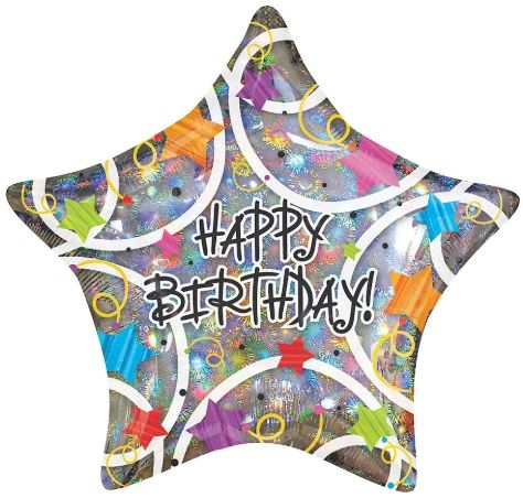 "18"" Stars Holographic Happy Birthday Balloon"