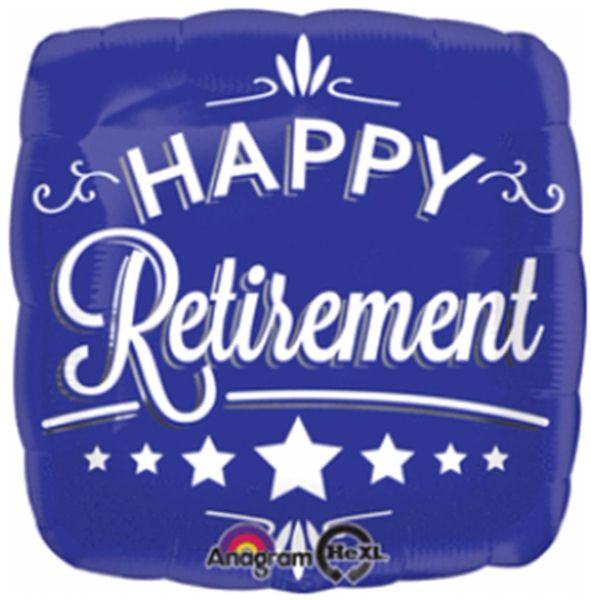 HX Blue Retirement Blue Square Balloon