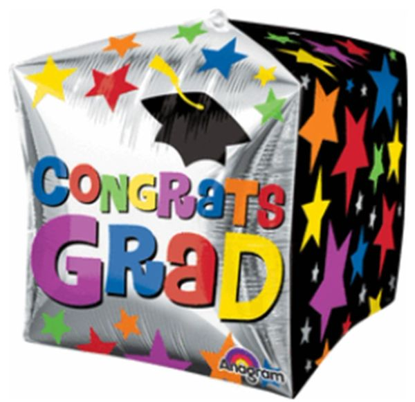 "15"" Way To Go Grad Star Cubez Balloon"