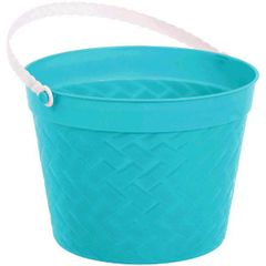 Aqua Plastic Woven Easter Bucket