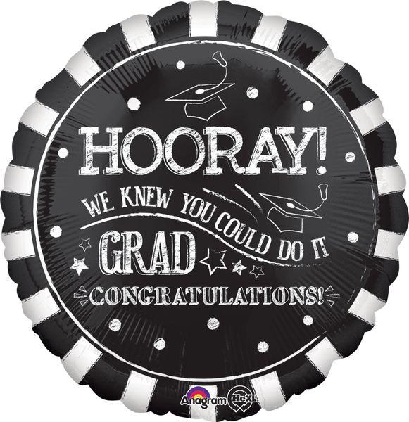 "18"" Hooray Grad Black Balloon"