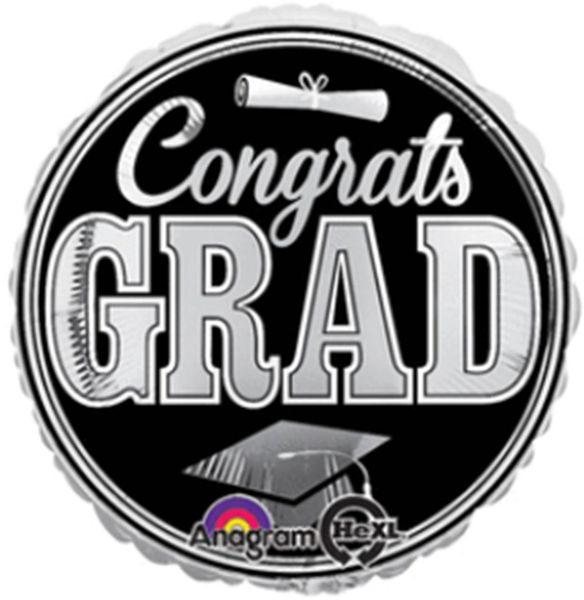 """18"""" Graduating Class Silver Balloon"""