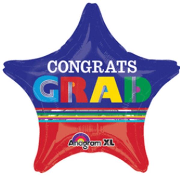 """19"""" Congrats Graduate Stripes Balloon"""