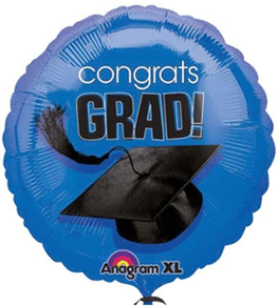 """18"""" Congrats Grad Royal Blue Balloon"""