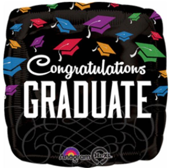 """18"""" Congrats Graduate Black Balloon"""
