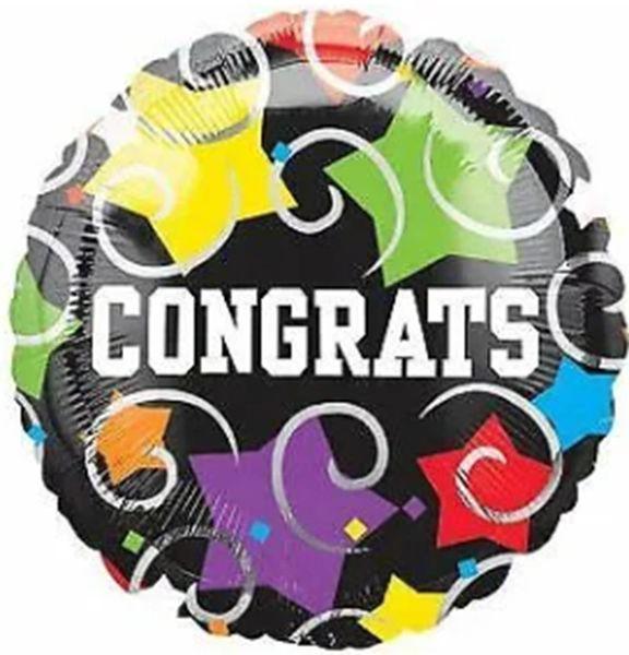 "18"" Congrats Stars and Swirls Balloon"