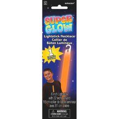 "6"" Orange Super Glow Light Stick Necklace"