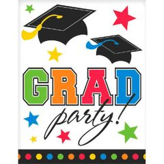 Grad Party Rainbow Postcard Invitations, 50ct