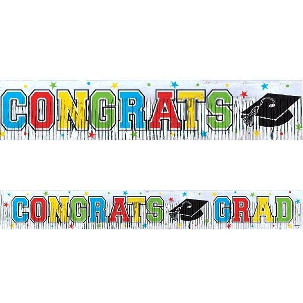 Graduation Metallic Fringe Banner, 5ft